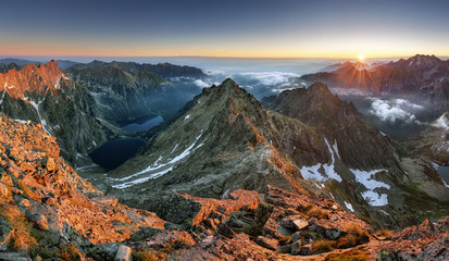 Sunset on mountain, Tatras