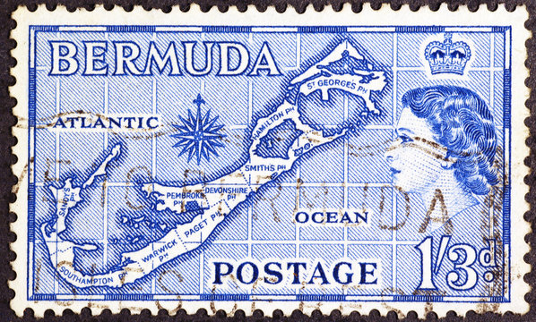Map of Bermuda on old postage stamp