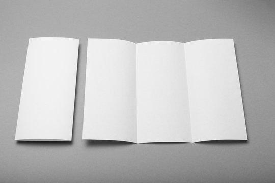 Tri fold brochure blank mockup. Booklet background.