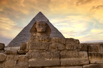 Sphinx and Pyramid at dusk, Giza, Cairo