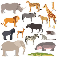 Vector illustration of cute african animals isolated on white background, such as elephant, zebra, giraffe, hippo, gorilla...