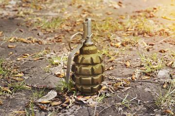 grenade lying on the ground. Hand grenade F-1. abandoned lost pomegranate greenfragmentation grenade