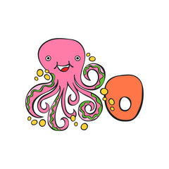 English letter O. Octopus. Isolated vector object on white background.