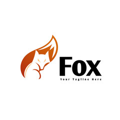 sit down fox negative space on tail logo