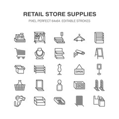 Retail store supplies line icons. Trade shop equipment signs. Commercial objects - cash register, basket, scales, shopping cart, shelving, display cases. Pixel perfect 64x64.