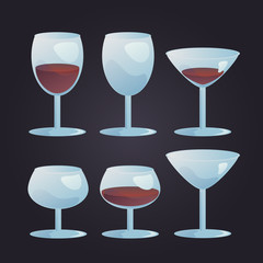 Wine stemwares set vector illustration