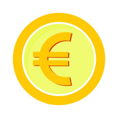 Euro coin in flat style, vector