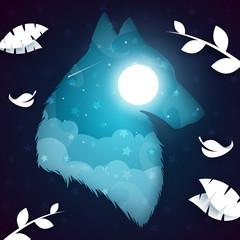 Paper wolf, dog illustration. Nightlandscape Vector eps 10