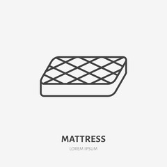 Mattress flat line icon. Bedding sign, vector illustration. Thin linear logo for interior store.