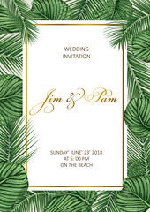 Trendy Summer Tropical Leaves Design. Wedding invitation.