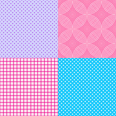 Set of seamless background. Starry patterns. Abstract geometric wallpaper of the surface. Dotted texture. Print for polygraphy, posters, t-shirts and textiles. Doodles for design