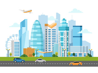 Urban landscape with buildings, skyscrapers and transport traffic. Vector illustration