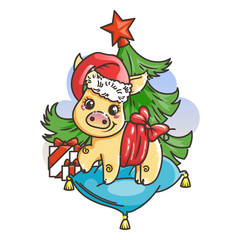 Happy New 2019 Year card with cartoon golden baby pig. Small symbol of holiday.