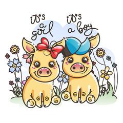 Cute cartoon golden baby pigs in love