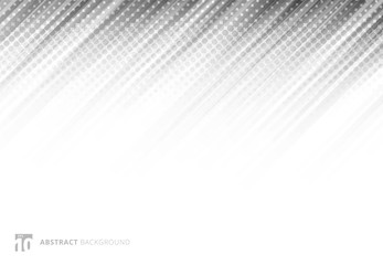 Gray abstract diagonal lines background technology with halftone on white background.