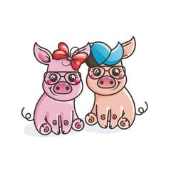 Cute cartoon baby pigs in a cool sunglasses