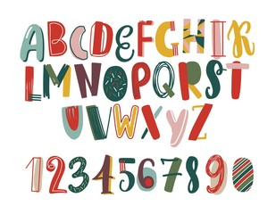 Modern hand drawn latin font or english alphabet for children decorated with scrawl. Bright letters arranged in alphabetical order and figures isolated on white background. Vector illustration.