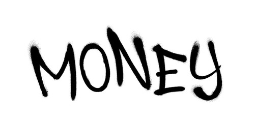 Sprayed money font graffiti with overspray in black over white. Vector illustration.