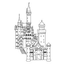 vector illustration, Neuschwanstein Castle in Germany, silhouette