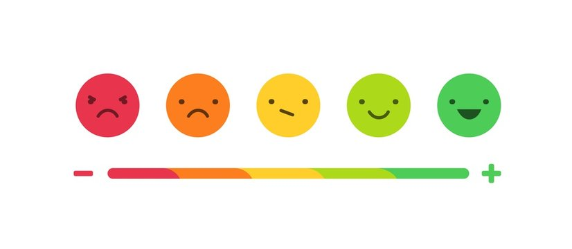 Feedback or rating scale with smiles representing various emotions arranged into horizontal row. Customer's review and evaluation of service or good. Colorful vector illustration in flat style.