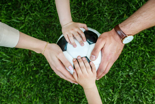 cropped shot of family with two kids touching soccer ball on grass