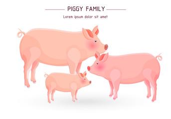 Pig family card Vector. cartoon illustration