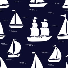 Seamless pattern with white cartoon boats