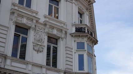 Facade of old houses in Antwerp, Belgium.