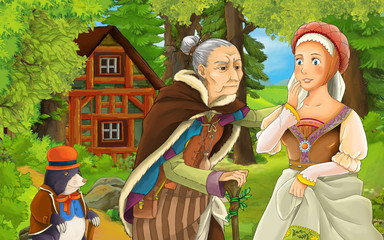 cartoon scene with happy young girl and older woman talking near the old wooden house in the forest-  illustration for children