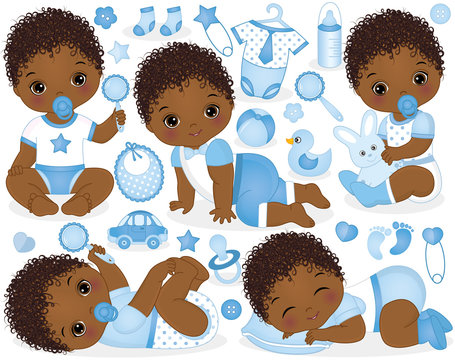 Vector Set for African American Baby Boy Shower
