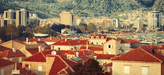 Vintage cityscape of old Budva, Montenegro