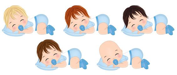 Vector Cute Baby Boys Sleeping. Vector Baby Boy Shower