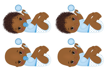 Vector Cute African American Baby Boys with Rattles. Vector Baby Boy Shower