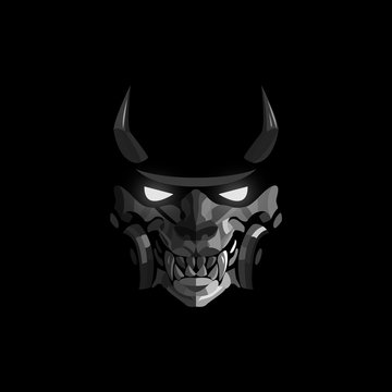 Mask of a samurai with horns and glowing eyes on a black background