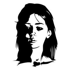 Raster image of an demonic possession girl with black eyes