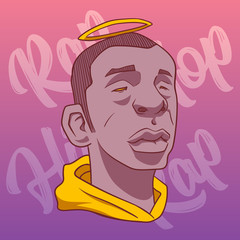 Black man with a halo on a pink background and hip-hop and rap inscriptions