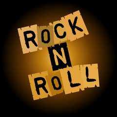inscription of rock and roll of individual letters