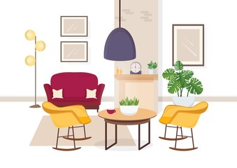 Modern interior of living room with comfy furniture and trendy home decorations - sofa, armchairs, carpet, coffee table, house plants, floor lamp, fireplace. Flat colorful vector illustration.