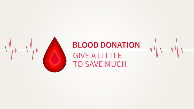 Blood Donation Give a little to save much vector illustration. Blood Donation creative concept with paper cut style red drop. Lifesaver campaign poster template graphic design.