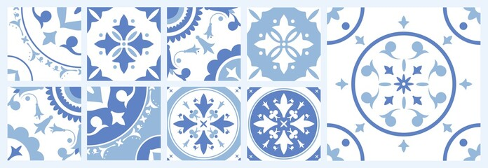 Bundle of ceramic square tiles with various traditional oriental patterns. Set of mediterranean decorative ornaments in blue and white colors. Vector illustration in vintage Azulejo or Moroccan style.