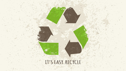 Recycle sign grunge style vector illustration. Recycle (reuse) symbol creative concept.