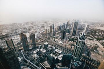 Dubai Sheikh Zayed road from Burj Khalifa with buildings wide angle.