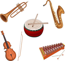 Musical instruments isolated on white.