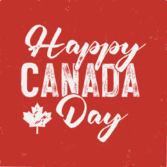 Happy Canada Day T-Shirt for Gift. Distressed Maple Leaf with text. Read and White National Colors. Tee graphics. Stock