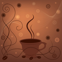 Vector abstract brown background with cup of coffee and coffee beans