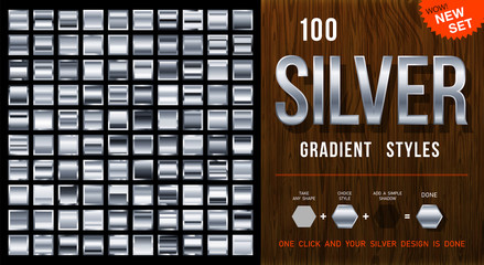 100 vector silver gradient styles. Metalness squares collection with contour. Silver background texture. Mega collection silvery gradient materials. EPS10 Wall mural