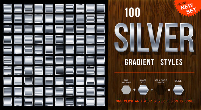 100 vector silver gradient styles. Metalness squares collection with contour. Silver background texture. Mega collection silvery gradient materials. EPS10