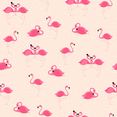 Pink flamingos seamless pattern background.
