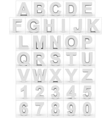 letters and numbers 3d white isolated on white