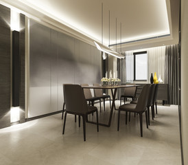 3d rendering modern dining room with luxury decor